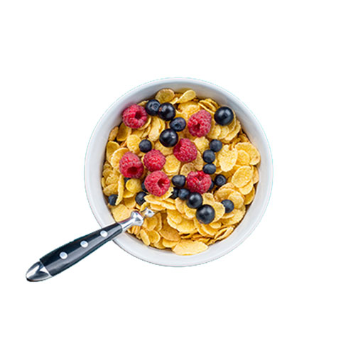 Bowl of cereal with blueberries and rapsberries